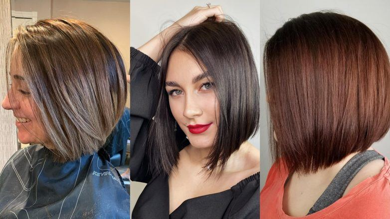 Three women with inverted bob haircuts