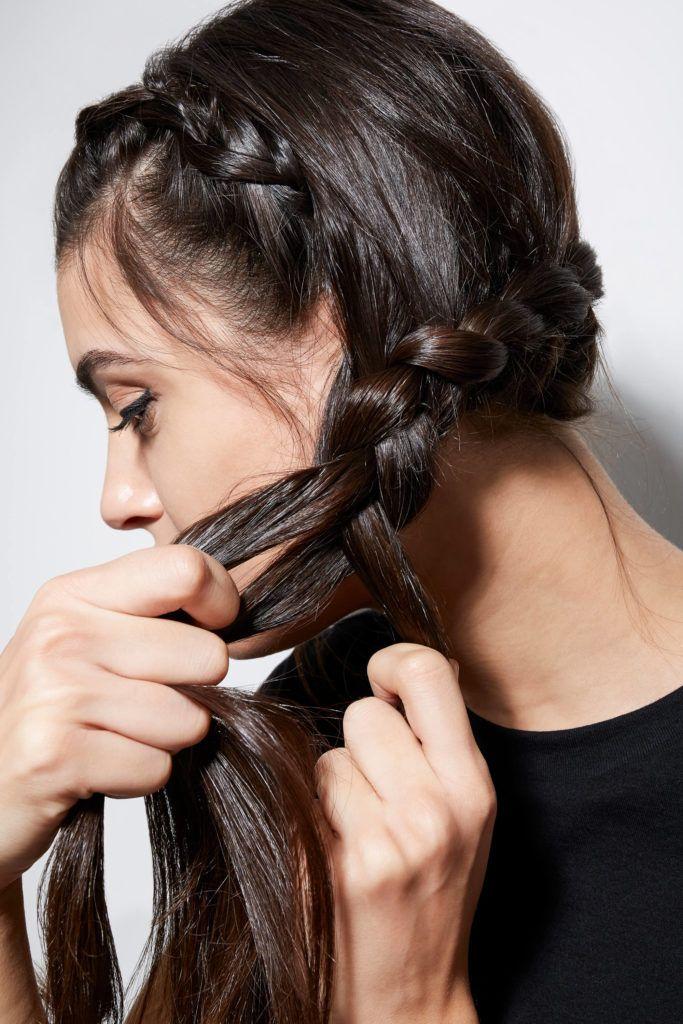 trenza corona cabello largo