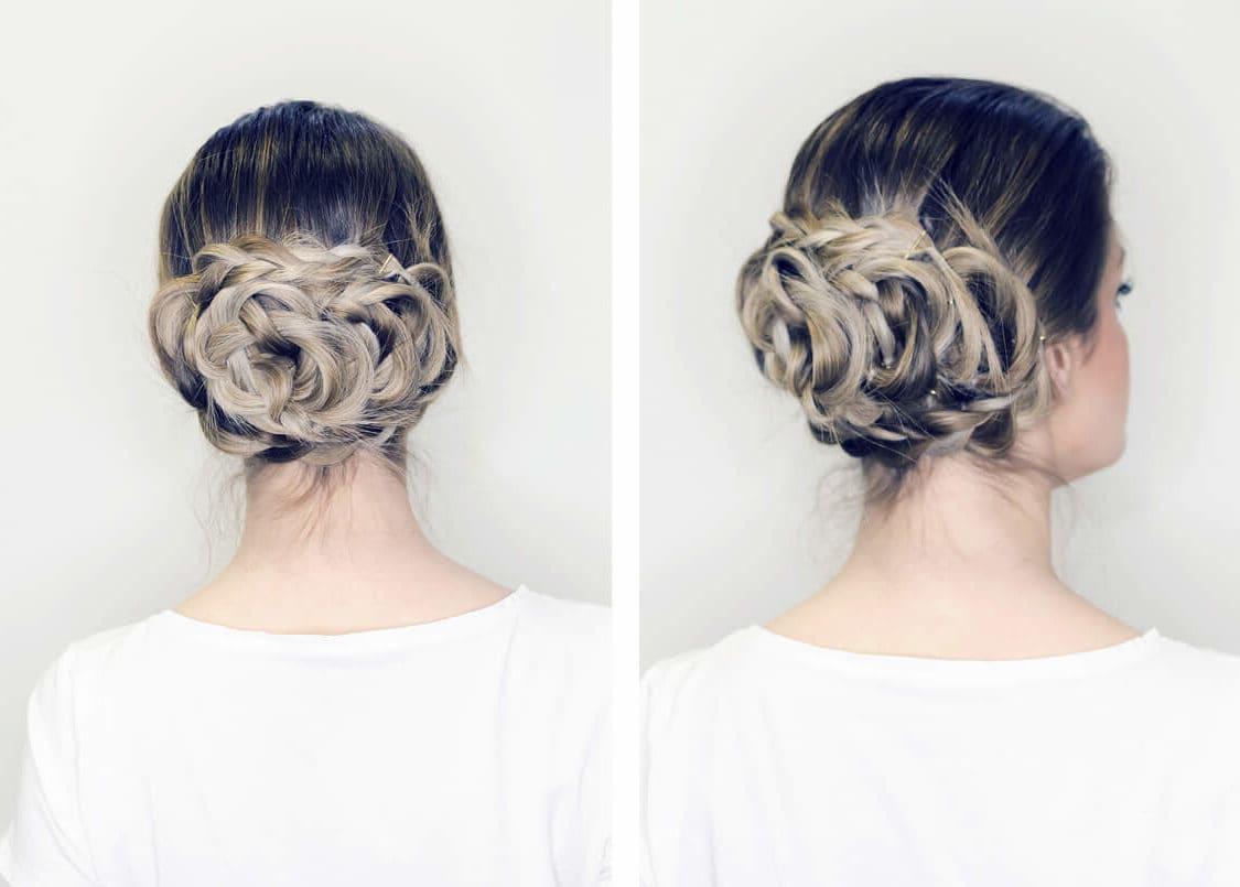 peinados elegantes recogidos moño flor