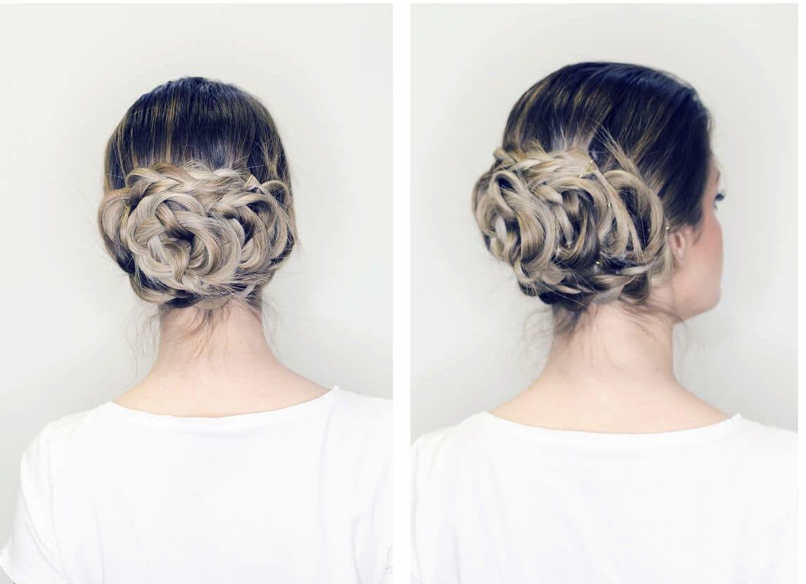 peinados recogidos con trenzas para fiestas moño flor