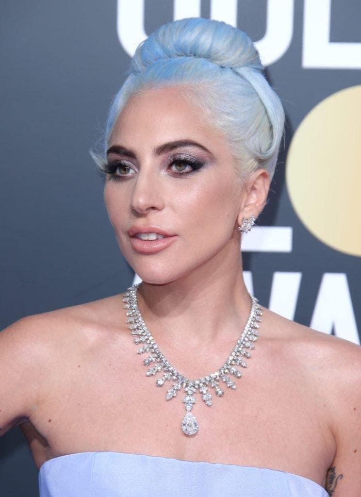 lady-gaga-blue-rolled-updo-golden-globes-744x1024 Кому идет светло-русый цвет волос фото