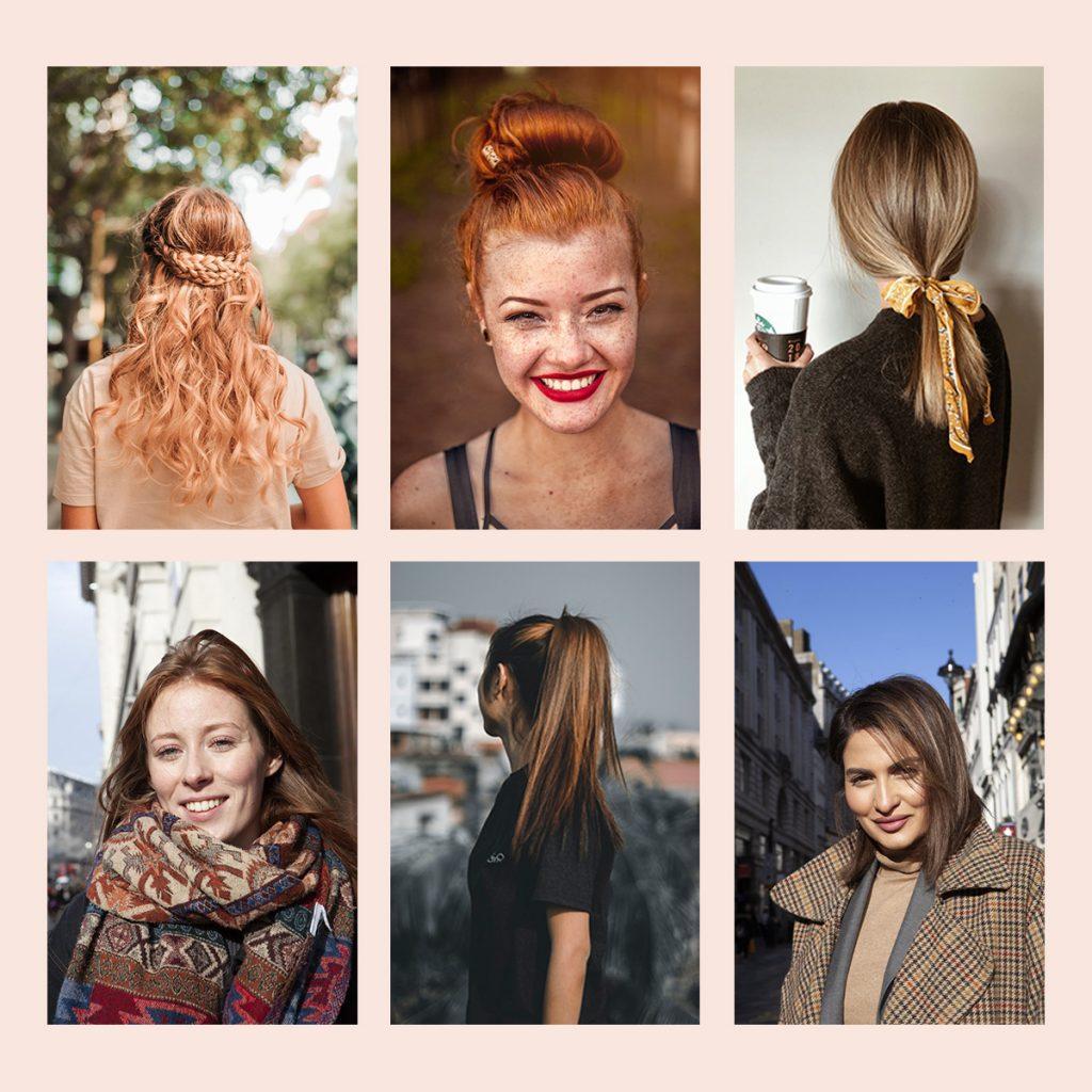 все цвета волос длинные волосы блонд коричневые рыжие косы хвост пучок волны аксессуары