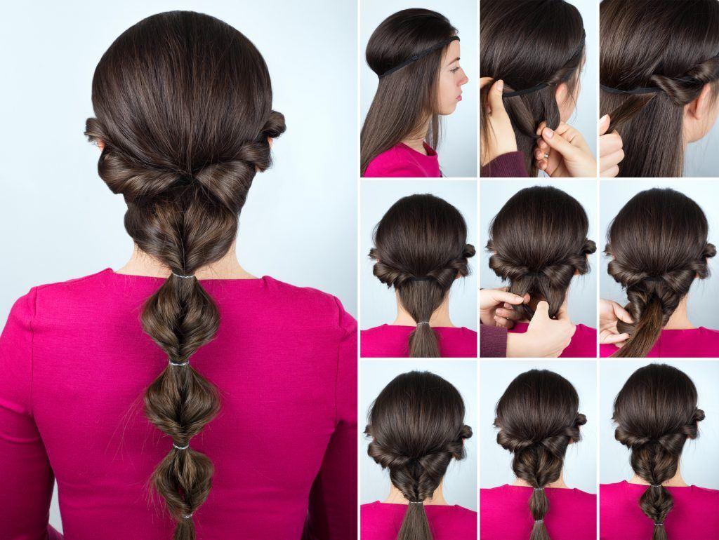 прически для девочек длинные темные волосы хвост с резинками пошагово