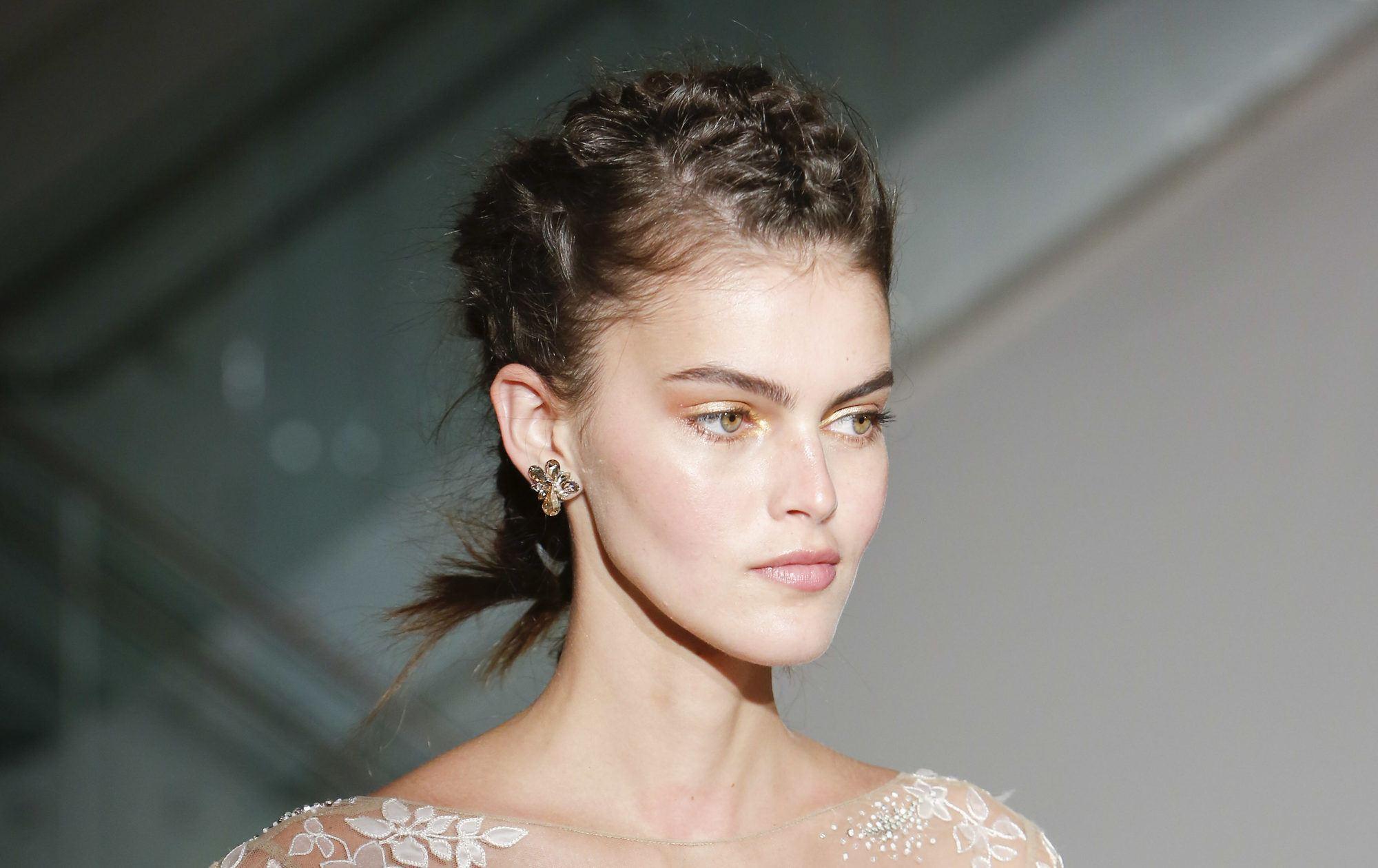 braid for short hair french braid style on model