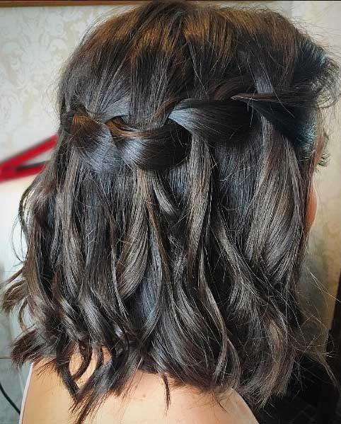 waterfall braid on brown hair