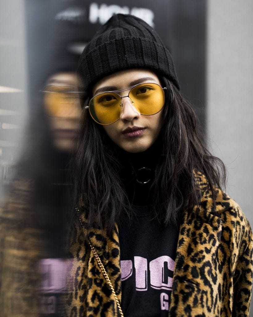 Street Day3 New York Fall 2017 asian model with yellow sunglasses and black textured hair