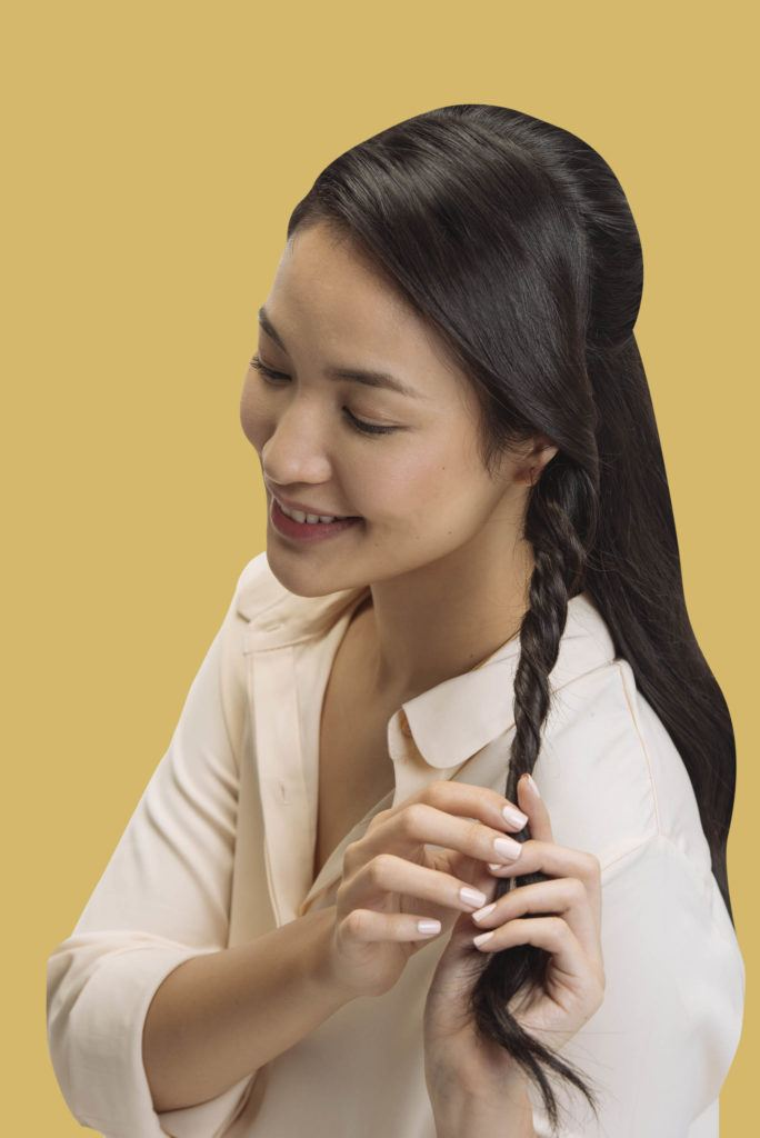 Wavy and Twisted Half-Up Hairstyle Tutorial: Filipina influencer styling her hair