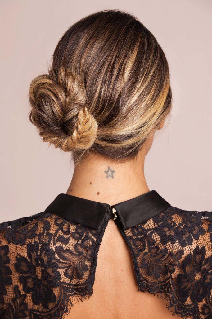 The side fishtail braided bun hairstyle