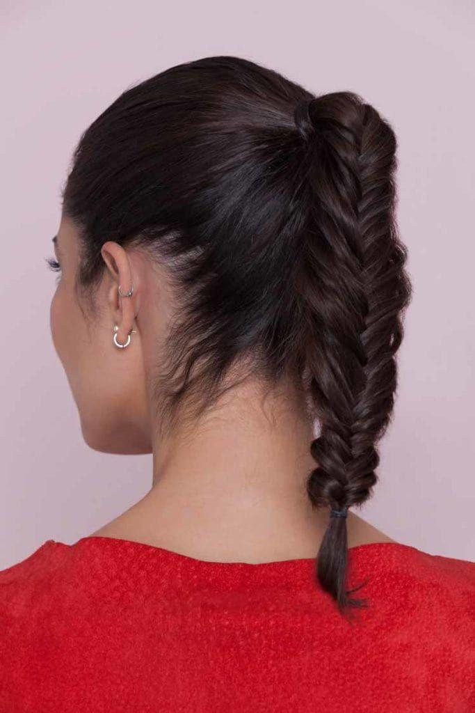 bridesmaid-hairstyle-fishtail-ponytail