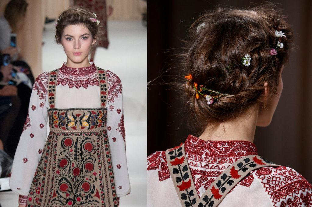floral crown braid wedding hairstyles