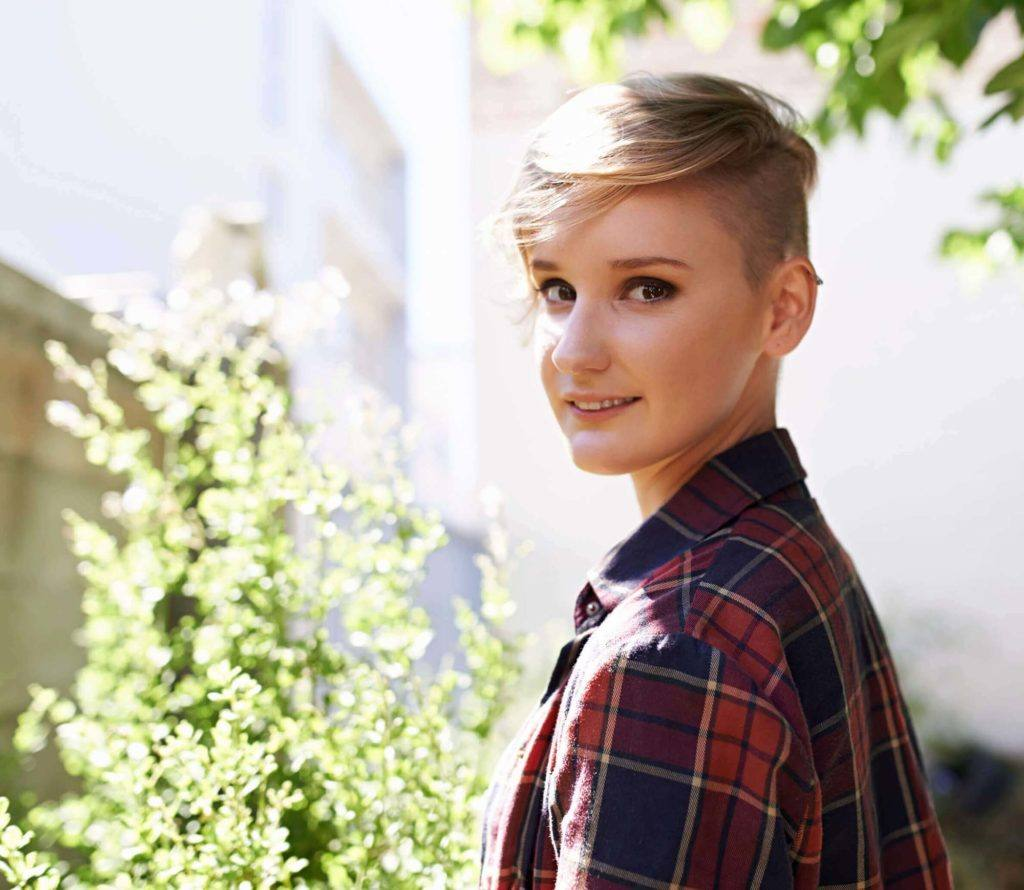 side-swept shaved hairstyles for women