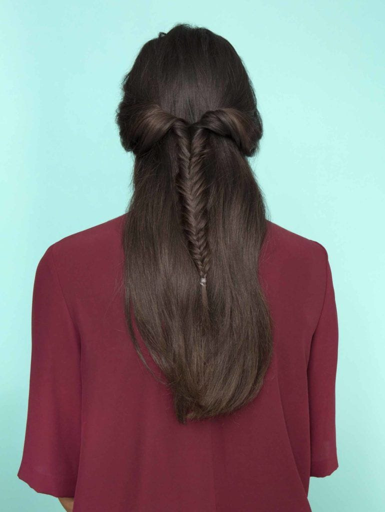 Half braided hairstyles: twisted fishtail half-up