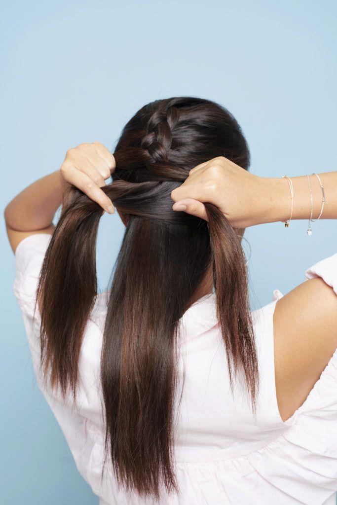 How to dutch braid step 3