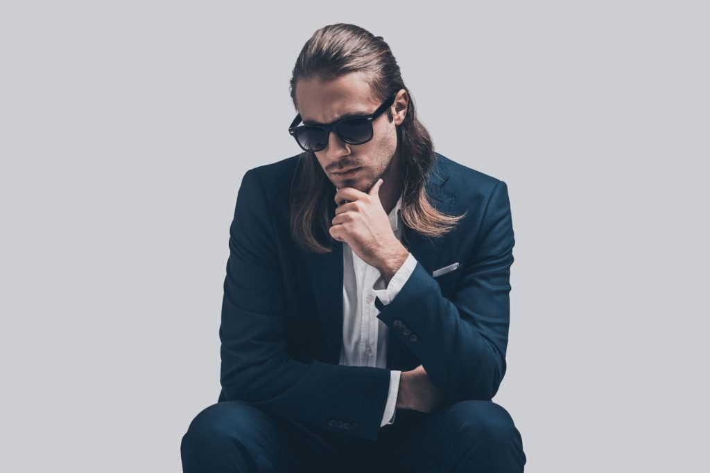 half-up long hairstyles for men