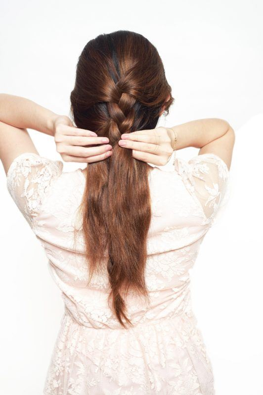 How to make a pony braid step 4: Braid the upper section of your hair.