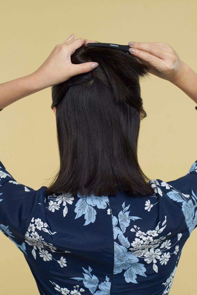 How to curl a choppy bob step 4: Part hair into two horizontal sections
