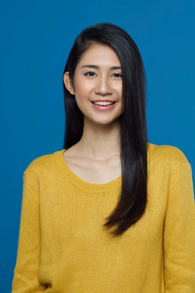 Asian woman with unstyled hair