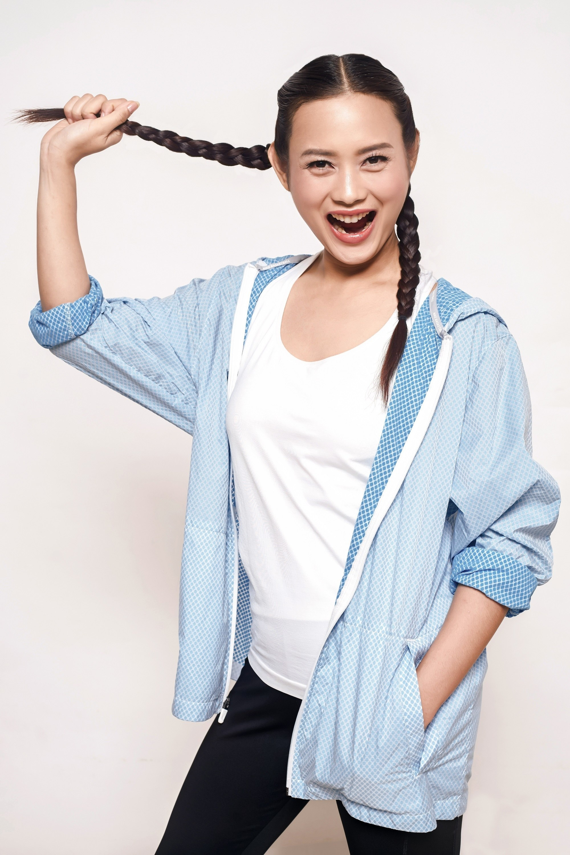 Two braids: Asian woman with boxer braid