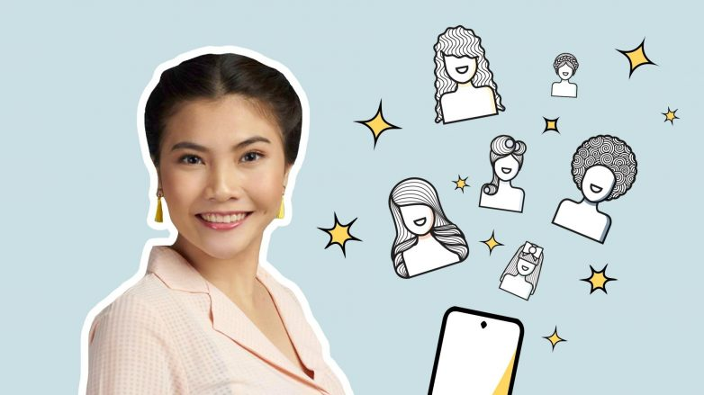 Asian woman smiling with graphic icons of hair and mobile phone