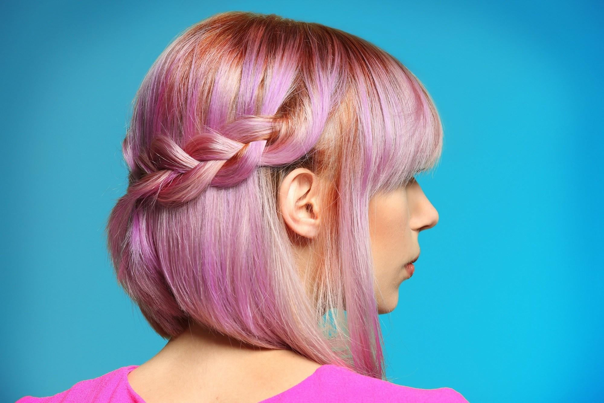 Easy braids for short hair: Girl with purple short hair in Dutch lace half braid