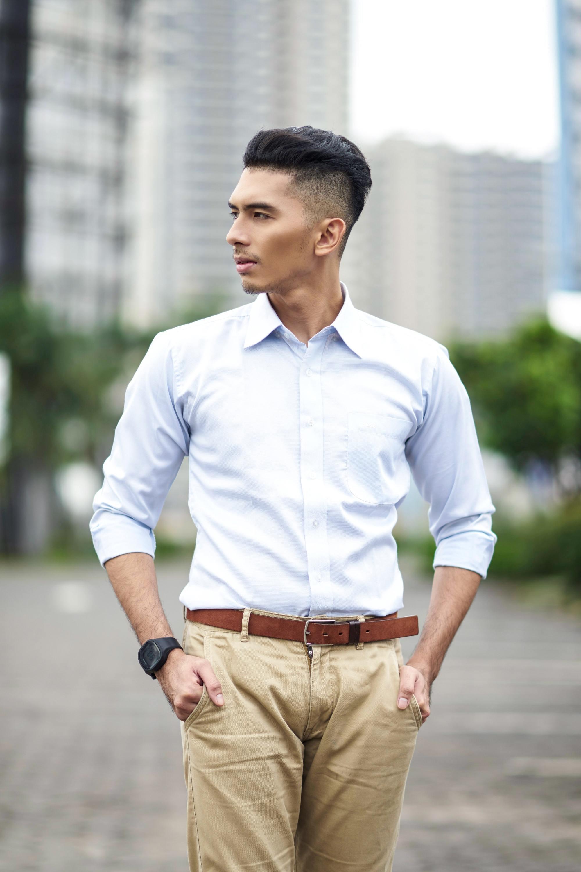 Asian man wearing a dress shirt and pants outdoors