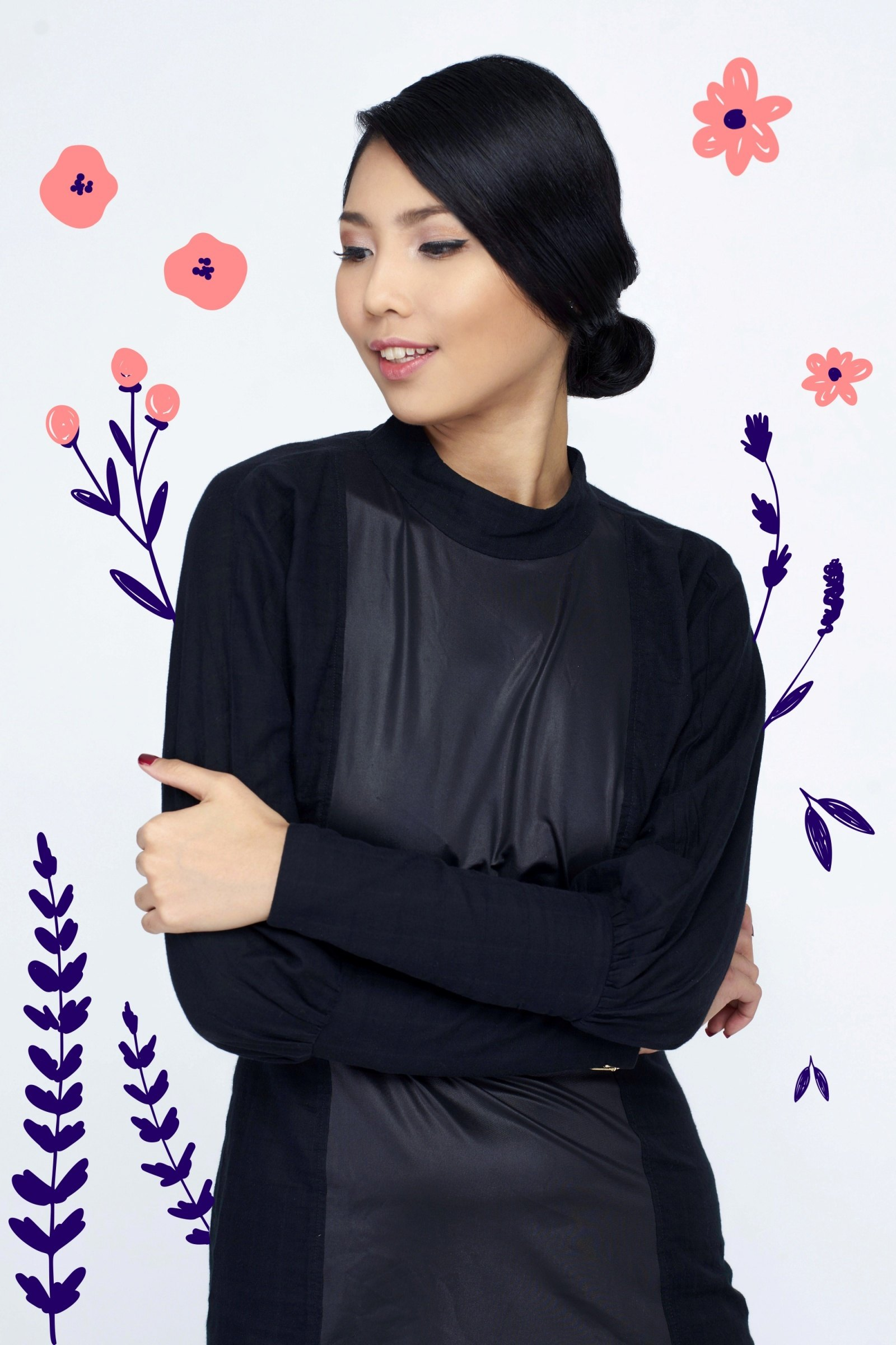 Flores de mayo hairstyles: Asian woman with black hair in chignon