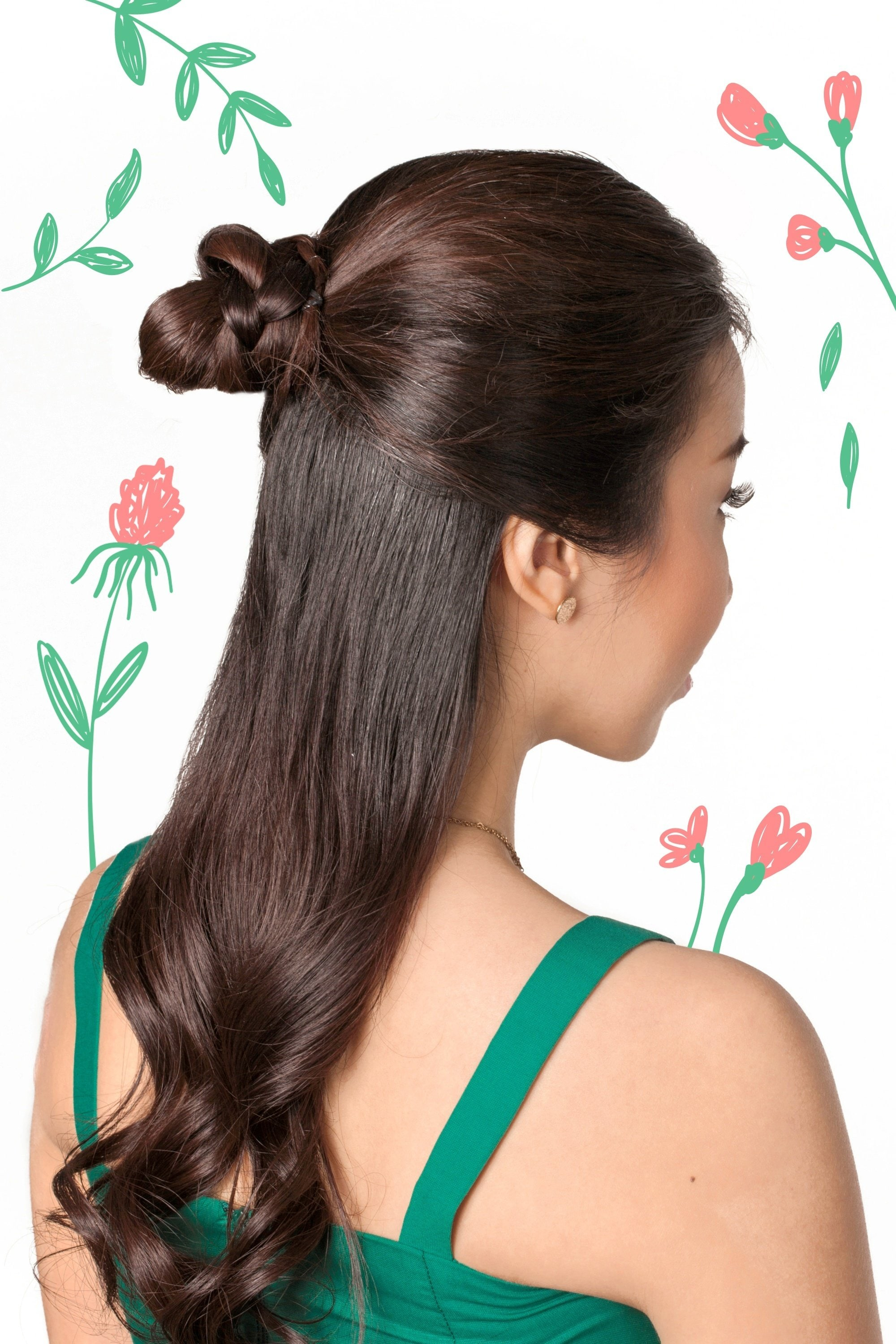Flores De Mayo Hairstyles: Back shot of Asian woman with long dark hair in half updo with bun