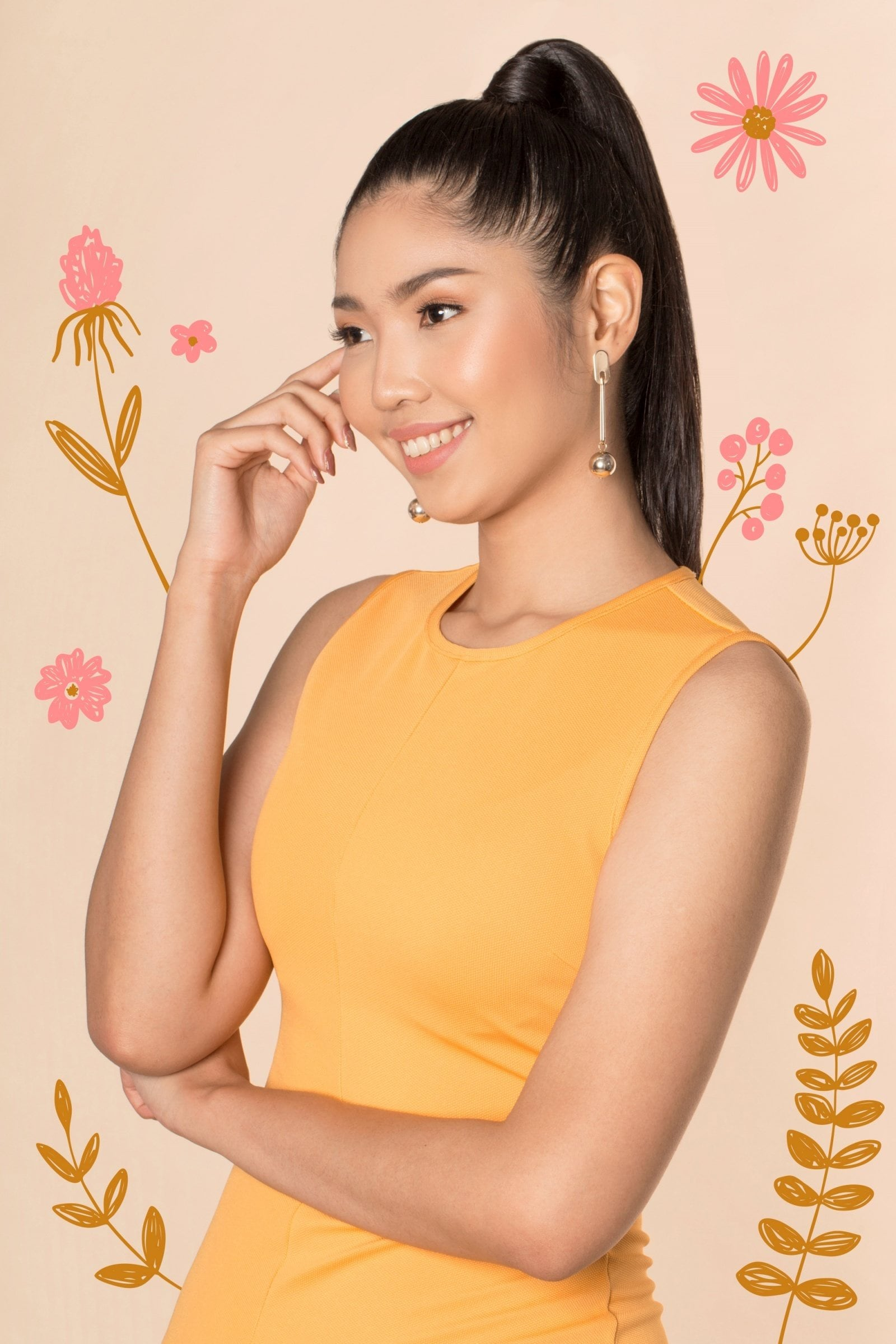 Flores de Mayo hairstyles: Asian woman with long black hair in high ponytail smiling