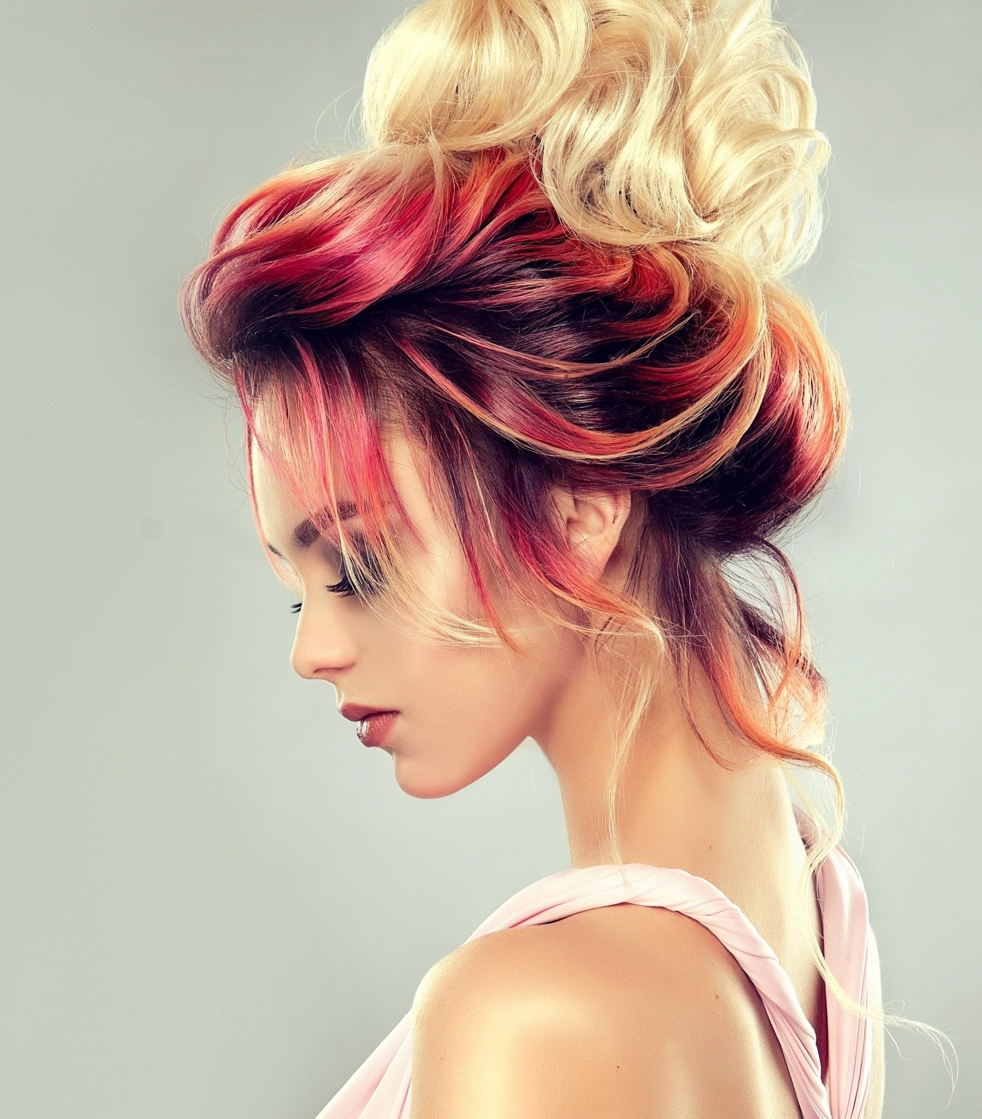 Mahogany Hair Color: Profile shot of woman with mahogany blonde ombre hair