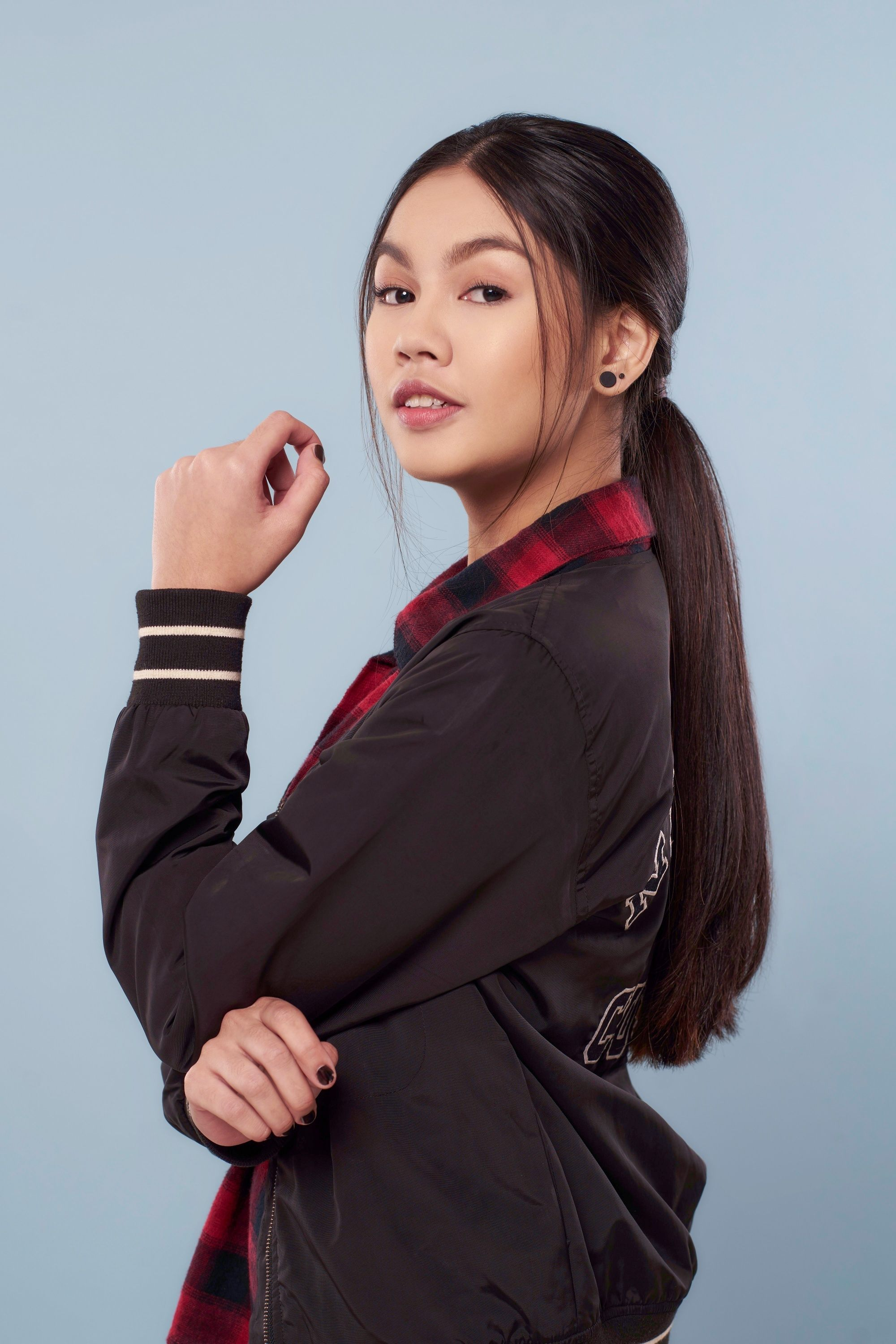 Summer Sale: Asian woman with long black hair in a low messy ponytail