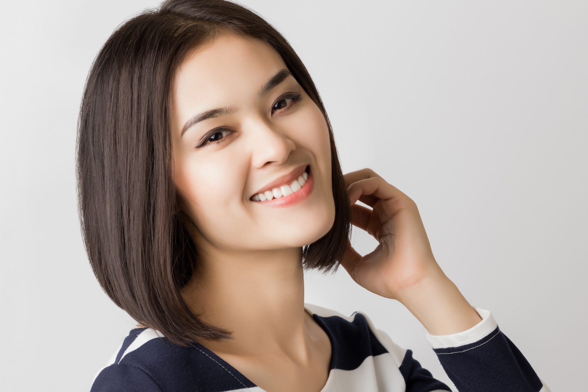 Asian woman with straight inverted bob hairstyle