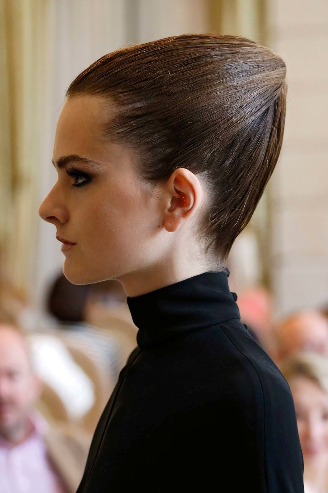 Paris fashion week haute couture model with triangular hairstyle