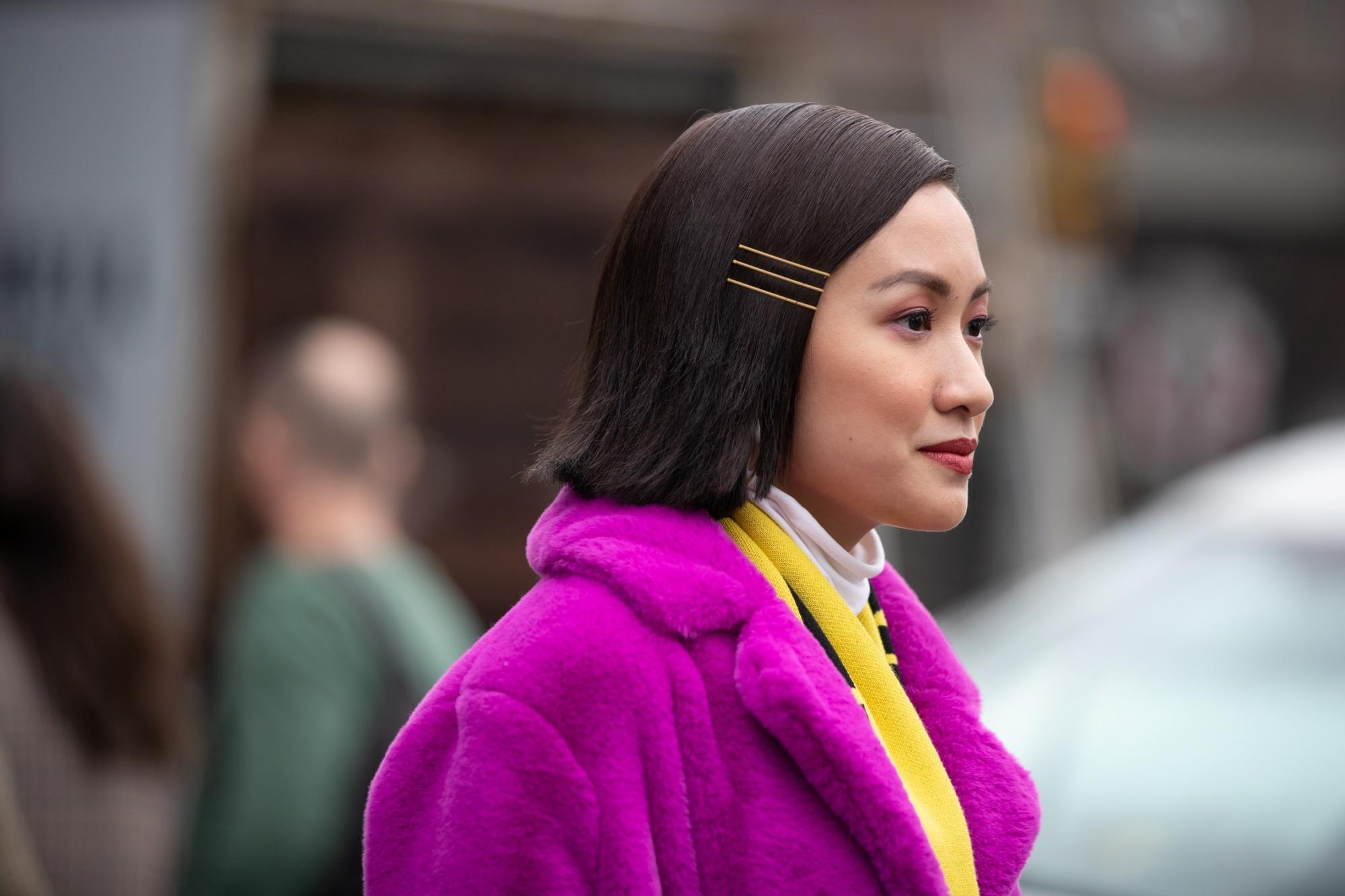 Straight hair ideas: Asian woman with straight long bob hair with gold boby pins