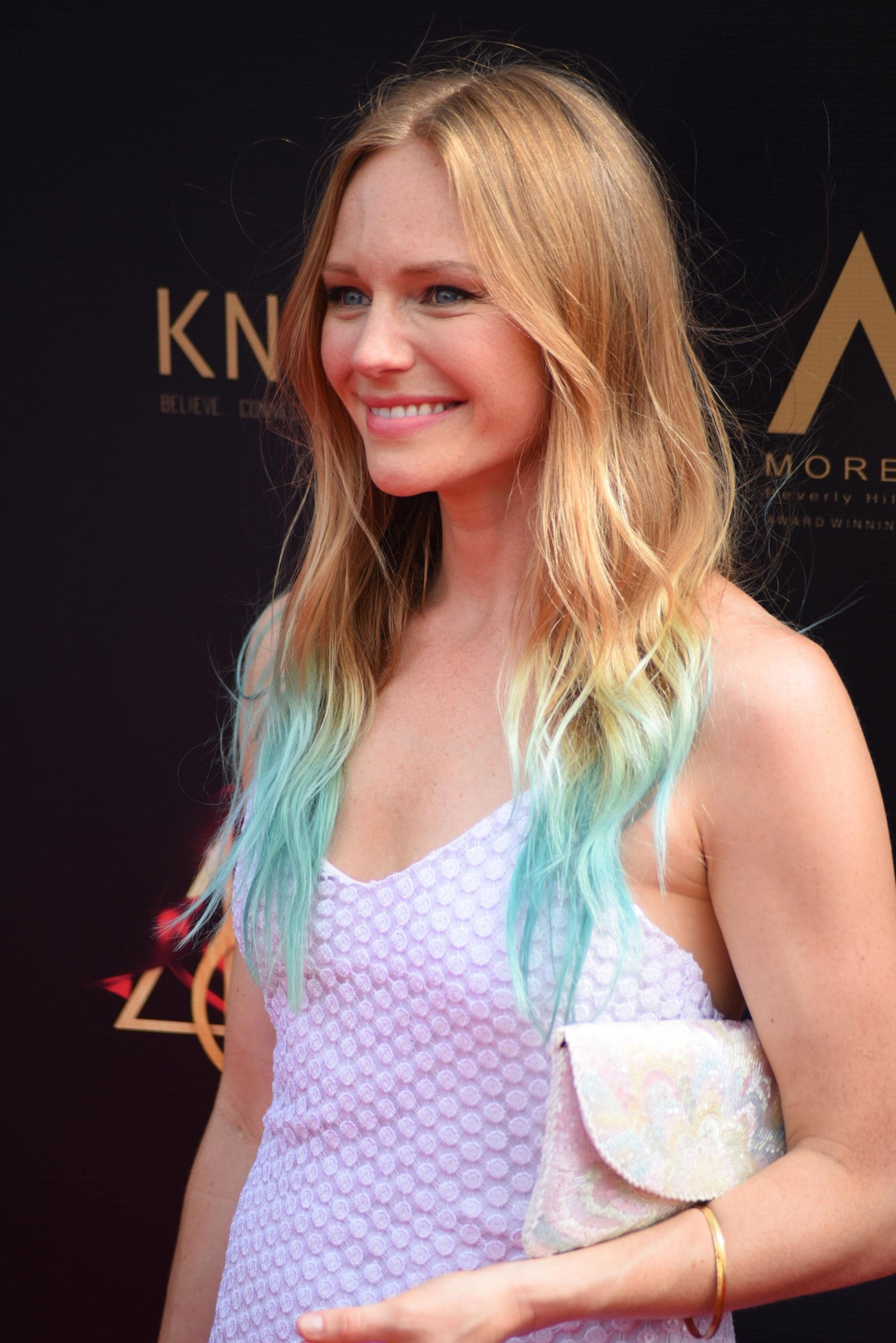 Emmy Awards 2019 Best Hairstyles: Marci Miller with her dip dyed hair in aquamarine