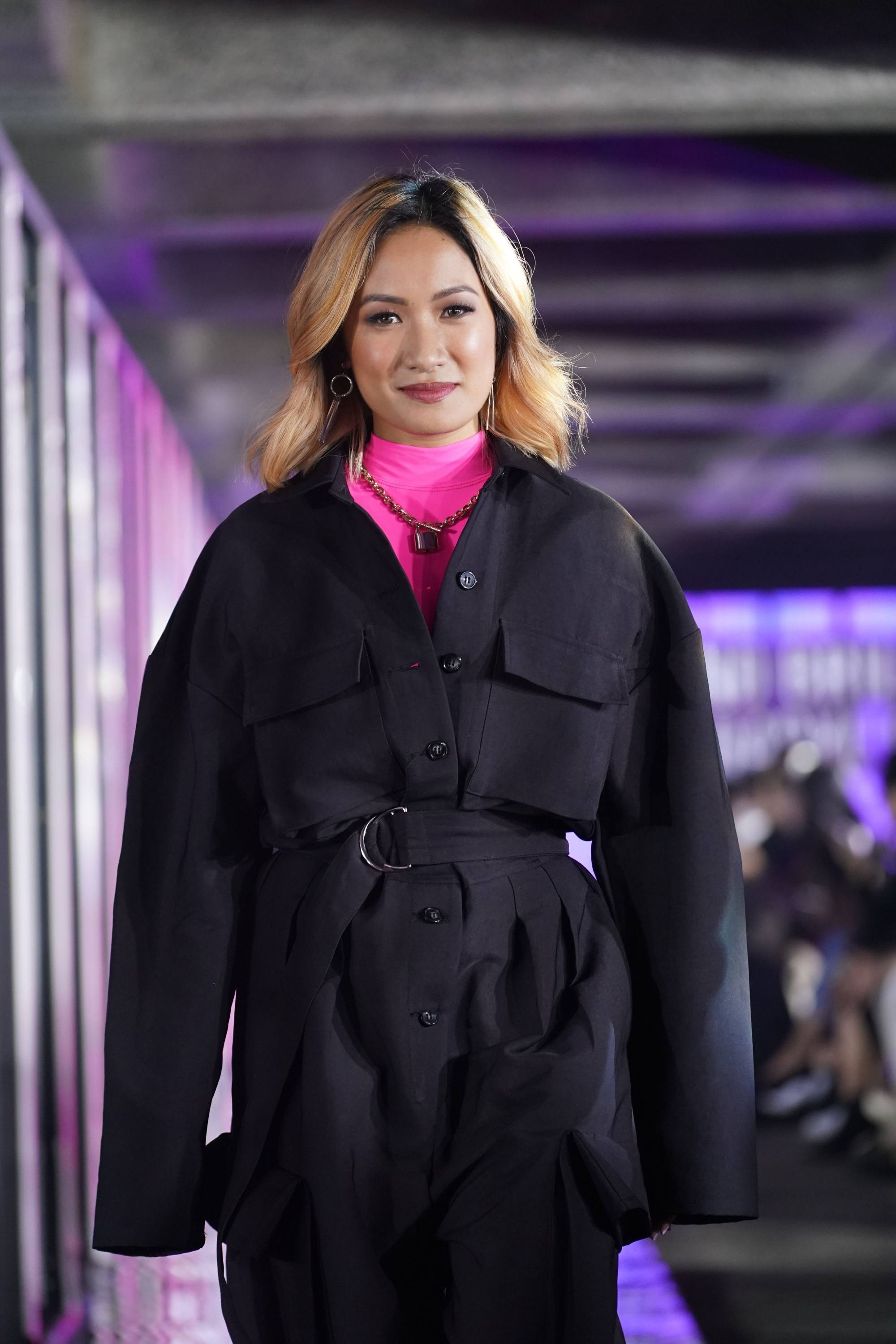 Laureen Uy with her peachy blonde on the runway