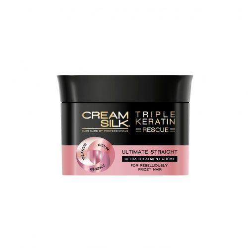 Canister of Cream Silk Triple Keratin Rescue Ultimate Straight Treatment Creme