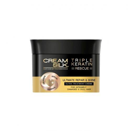 Canister of Cream Silk Triple Keratin Rescue Ultimate Repair & Shine Treatment Creme