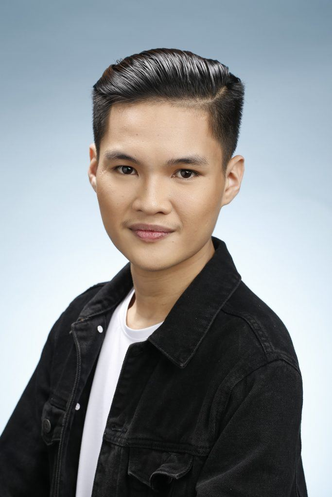Asian man with slicked-back hair for men hairstyle