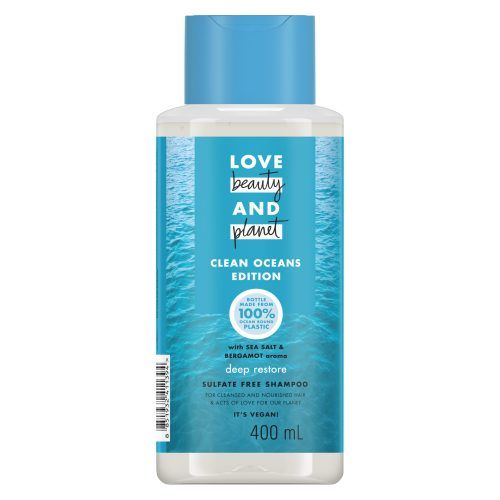 Photo of a bottle of Love Beauty and Planet with Sea Salt and Bergamot Deep Restore Shampoo