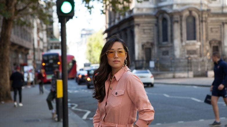 Keratin: Fashionable Asian woman with long wavy hair