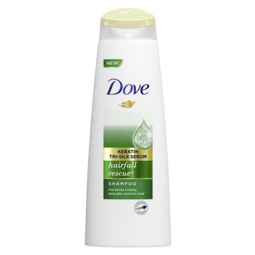 Bottle of Dove Keratin Tri-Silk Serum Hair Fall Rescue Shampoo