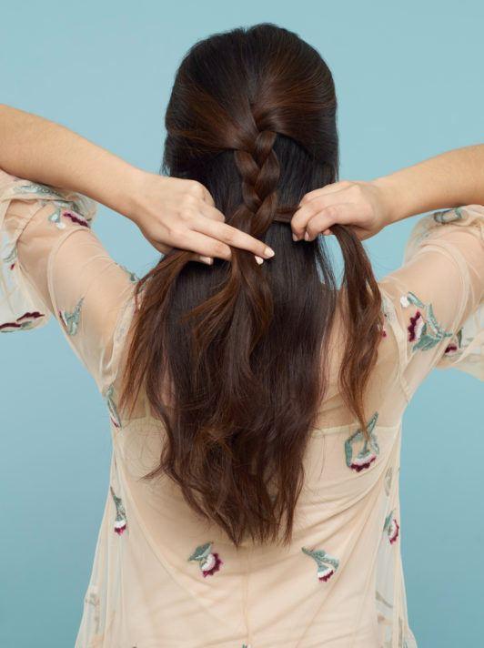 ถักเปียครึ่งหัว มัดผมครึ่งหัว ผมยาว
